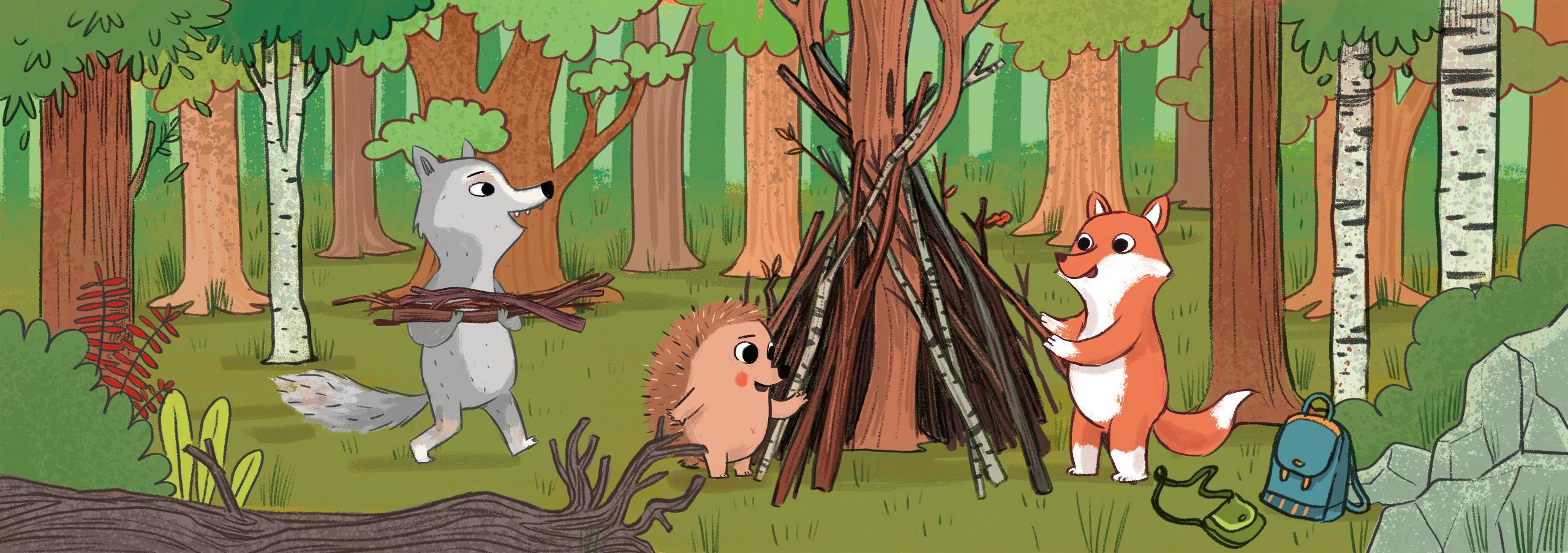 Sommer im Wald mit Natur-Wolf
